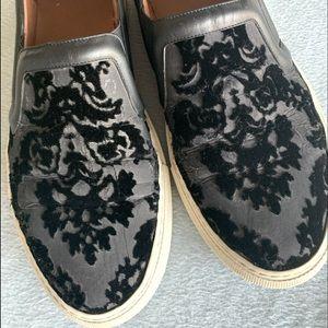 Givenchy black velvet printed slip on sneakers